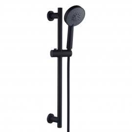 Bathroom Shower Head with Slide Bar & 5 Functions Combo Handheld Shower, Matte Black F204DG-BK+KP501B-BK