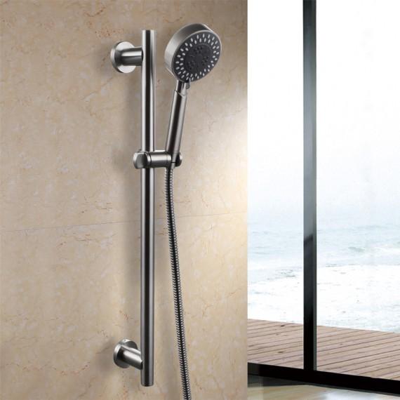 kes f205 2 kp309 2 three function hand shower head with adjustable slide bar brushed sus304. Black Bedroom Furniture Sets. Home Design Ideas