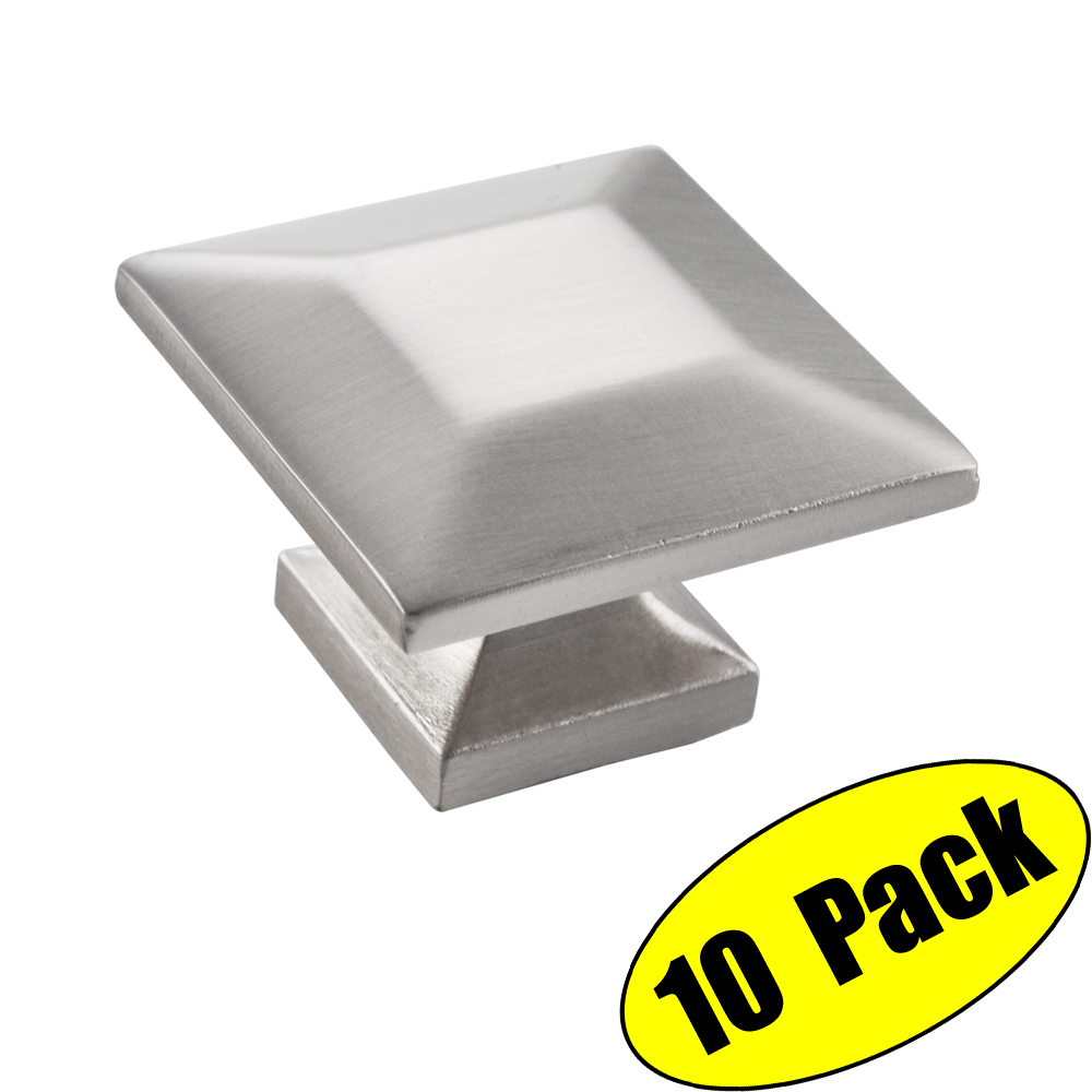 Kes Cabinet Hardware Square Pull Round Brushed Nickel 1 4 Diameter 10 Pack