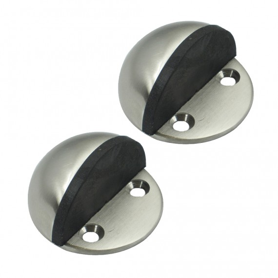 KES HDS201-2-P2 Solid Stainless Steel Floor Door Stopper Stops Screw Mount 2 Pcs Pack, Brushed