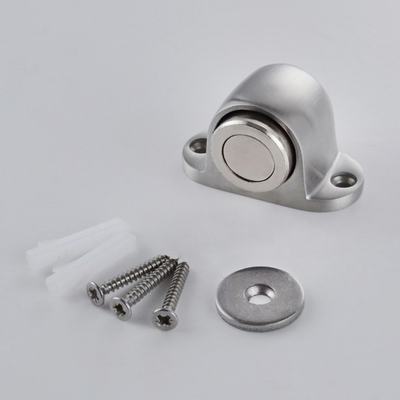 KES HDS202-2 SUS304 Stainless Steel Magnetic Doorstop/Door with Catch Screw Mount, Brushed