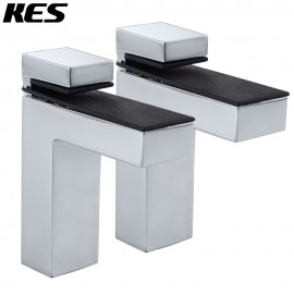 KES HSB301B-P2 Solid Metal Adjustable Wood/Glass Shelf Bracket Wall Mount 2 Pcs or One Pair, Polished Chrome