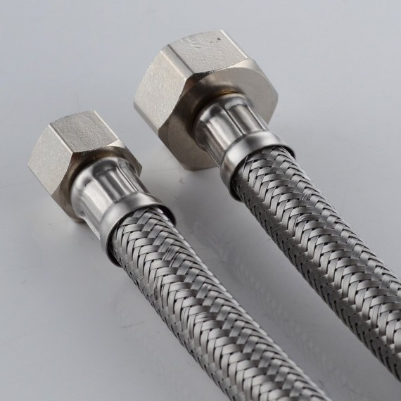 "KES IUS2032-P2 Faucet Connector, Braided Stainless Steel - 3/8"" Female Compression Thread x 1/2"" I.P. Female Straight Thread, 32"" Length x 2 Pcs (1 Pair)"