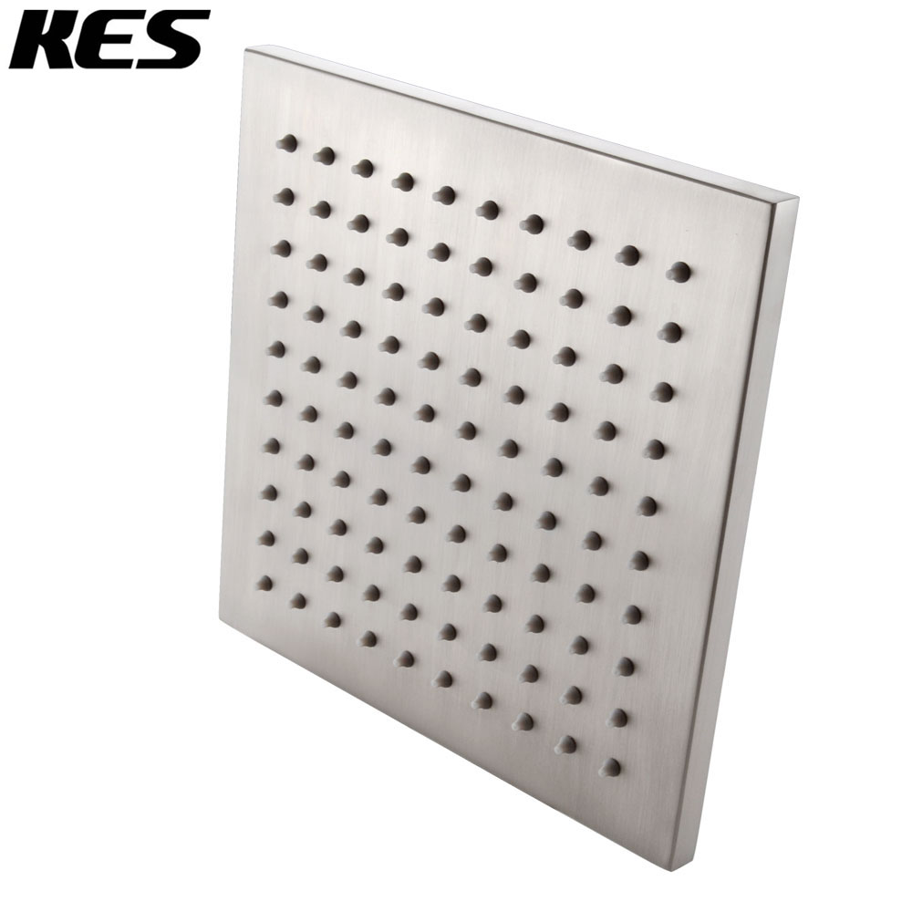 Kes J213 2 All Metal 8 Inch Shower Head Fixed Mount Rainfall Style Stainless Steel Square Brushed Nickel