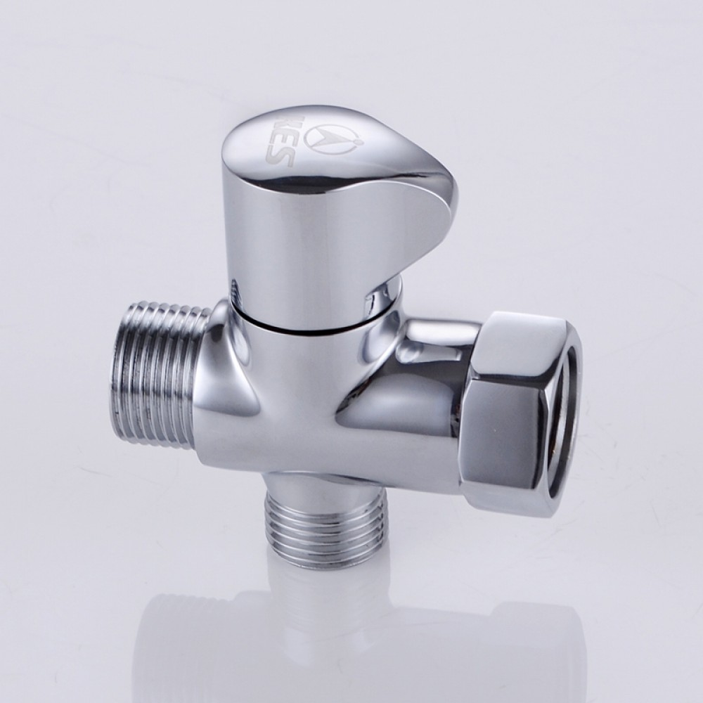 Kes solid brass t adapter with shut off valve way tee