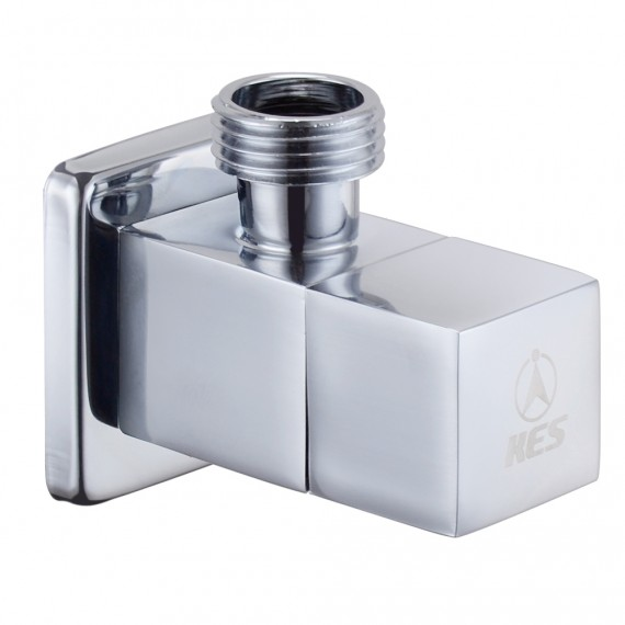 KES K112A1 Brass Quarter Turn Angle Valve 1/2¡± IPS Inlet and Outlet Modern Square, Polished Chrome