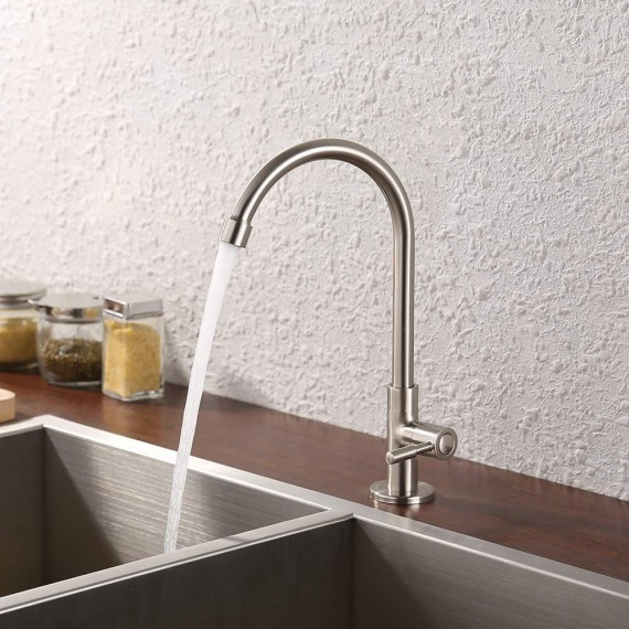 KES Lead-Free Kitchen Sink Faucet For Cold Water Only Single Handle Bar Modern Replacement Tap Brushed Nickel, K8001ALF-BN