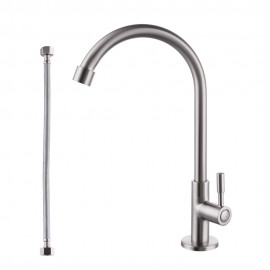 KES Lead-Free Kitchen Faucet Single Handle Bar Sink Faucet Single Hole Cold Water Only Brass Modern Replacement Tap, Brushed Nickel, K8001A1LF-2