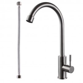 KES K8050A SUS304 Stainless Steel Cold Tap Single Lever Kitchen Pantry Bar Faucet Lead-Free with 24-Inch Supply Hose, Brushed