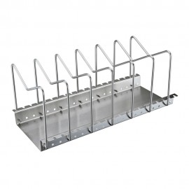KES Stainless Steel Dish Rack Kitchen Pot Pan Lid Cutting Board Adjustable Organizer Holder with Drain Tray for Cabinet and Pantry Storage Organization, 6 Compartments, KLR201