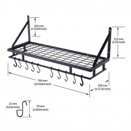 Kitchen 30 Inches Wall Mounted Pot Pan Rack Wall with 12 Hooks, Matte Black KUR215S75A-BK