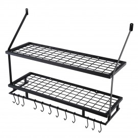 Kitchen 30 Inches Wall Mounted Pot Pan Rack Wall with 12 Hooks 2 Tiers, Matte Black KUR215S75B-BK