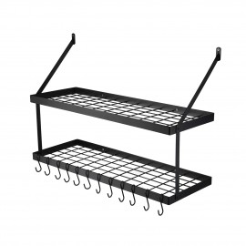 30-Inch Pot Rack 2 Tier Pan Rack for Kitchen Wall Mounted Pot Organizer with 12 S-Hooks Heavy-Duty Matte Black, KUR218S75B-BK