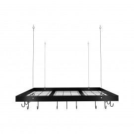 Kitchen 30 Inches Hanging Pot and Pan Rack with Ceiling & 15 Hooks, Matt Black KUR219S75-BK