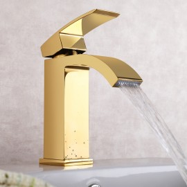 KES Lead-Free Waterfall Vanity Sink Faucet with Rectangular Spout for Lavatory Single Hole, Titanium Gold, L3109A1LF-4