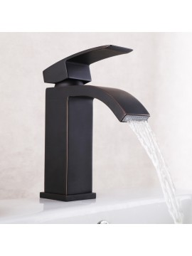 KES Lead-Free Waterfall Vanity Sink Faucet with Rectangular Spout for Lavatory Single Hole, Oil Rubbed Bronze, L3109A1LF-7