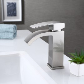 Bathroom Faucet Single Handle One Hole Vanity Sink Faucet cUPC NSF Certified Brass Construction, Brushed Nickel L3109ALF-BN