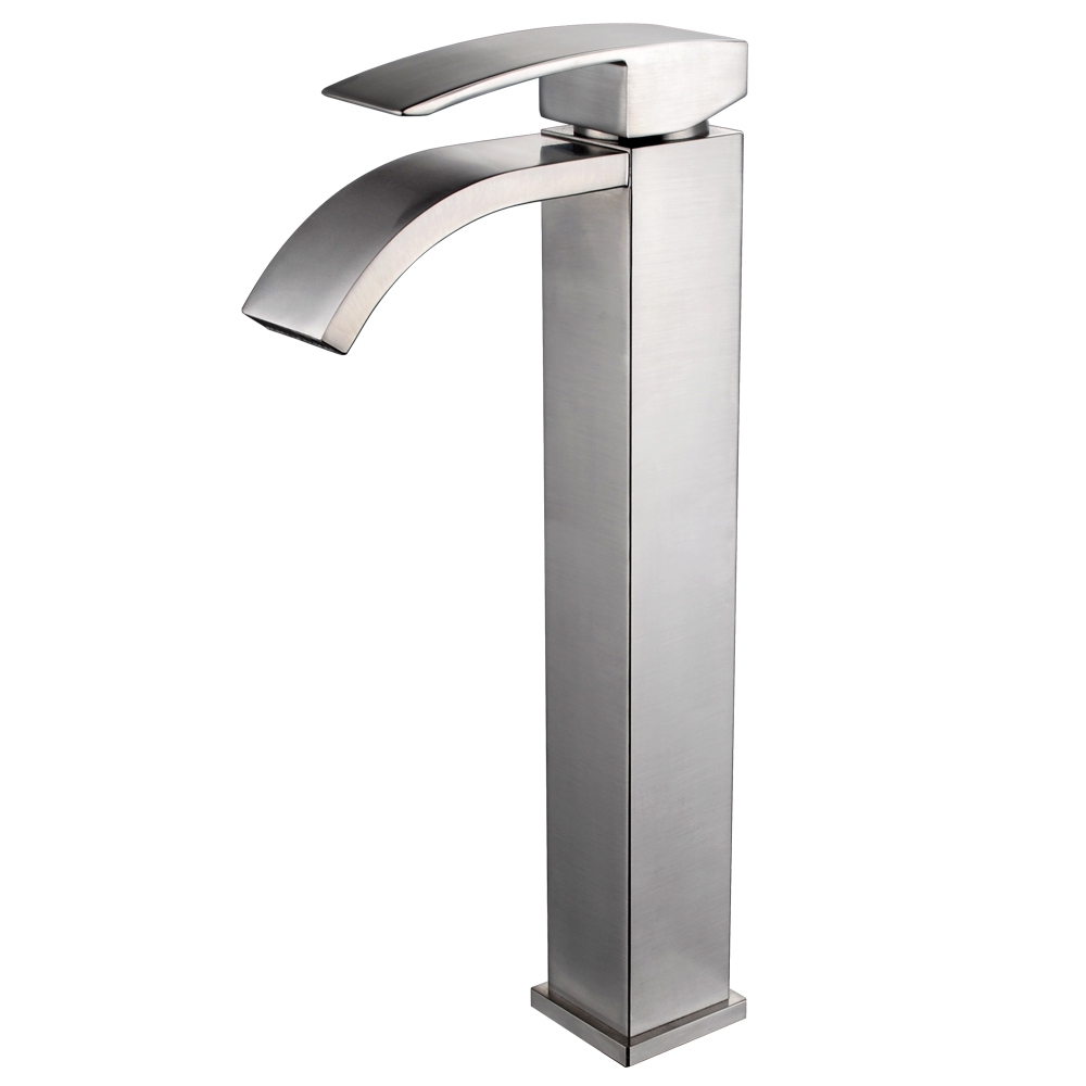 Kes Lead Free Br Bathroom Sink Faucet Single Handle Waterfall Spout For Vessel Bowl Countertop Tall Brushed Nickel