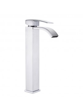 Votamuta Waterfall Spout Single Handle Bathroom Sink Vessel Faucet Mixer  Tap Lavatory Faucets Tall Body Brushed