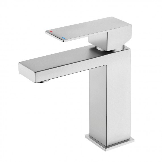 Bathroom Faucet Single Handle Modern Bathroom Sink Faucet Single Hole Cupc Certified Stainless Steel Brushed Finish