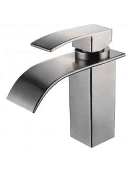 KES SUS304 Stainless Steel Waterfall Bathroom Vanity Sink Faucet with Extra Large Rectangular Spout Lead-free, L3186ALF