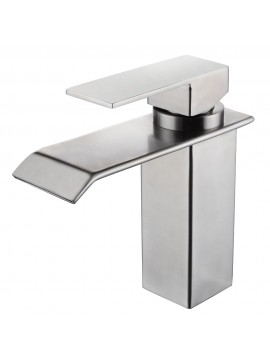 KES SUS304 Stainless Steel Waterfall Bathroom Vanity Sink Faucet with Extra Large Rectangular Spout Lead-free, Brushed Finish, L3187A