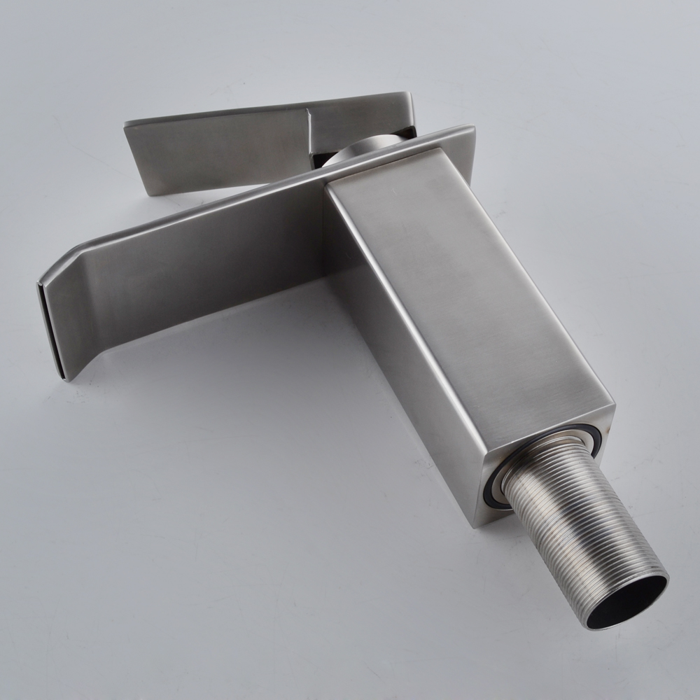 Kes Lead Free Waterfall Bathroom Faucet Sus 304 Stainless Steel Single Handle Lavatory Vanity
