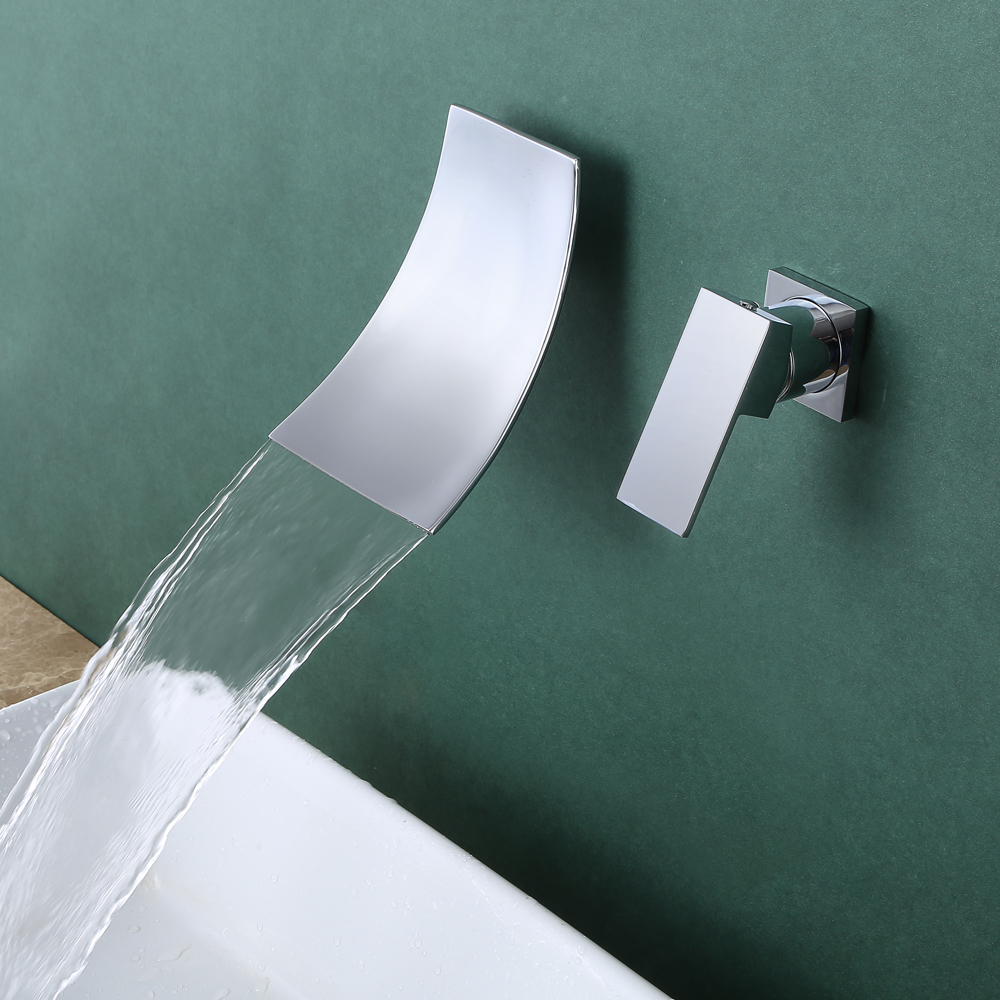 Wall Mount Bathroom Faucet Waterfall Lavatory Sink Faucet Single ...