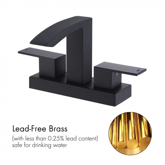 Bathroom 4 Inches Sink Faucet with Two Handle & Pull Up Drain, Matte Black L4101LF-BK
