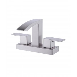 Two Handle Bathroom Faucet Waterfall with Drain Assembly Brass Vanity Sink Faucet 4-Inch Centerset Square Brushed Nickel, L4101LF-BN