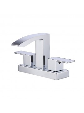 cUPC NSF Certified BRASS Two Handle Bathroom Waterfall Faucet with Drain Assembly Lavatory Vanity Sink Faucet 4-Inch Centerset, Polished Chrome, L4101LF-CH