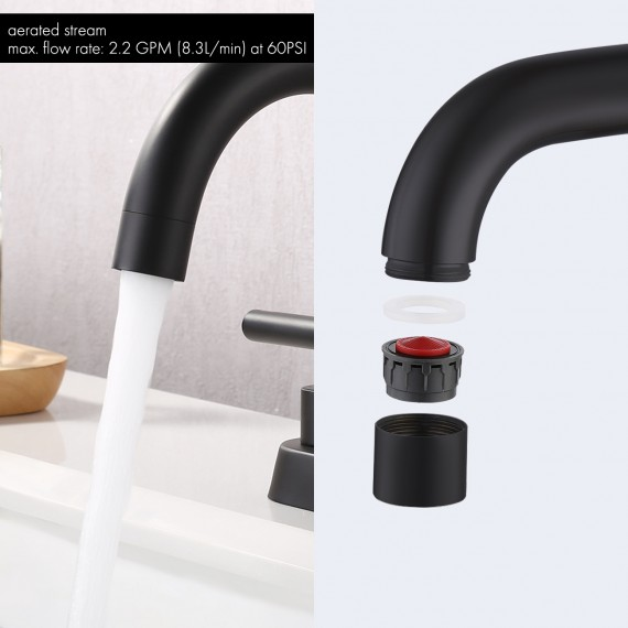 Bathroom 4 Inches vanity Faucet with Two Handles type, Matte Black L4117LF-BK