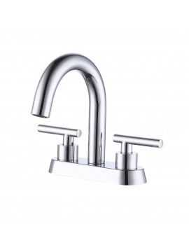 2 Handles Bathroom Sink Faucet Modern 4 Inches Brass Centerset Vanity Faucet Construction Polished Chrome Finish, L4117LF-CH