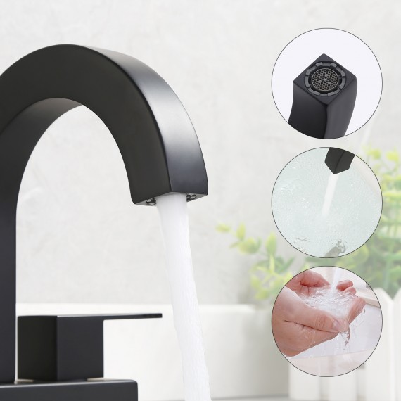 Bathroom 4 Inches Sink Faucet with Two Handles & Three Holes(Supply Hoses Included), Matte Black L4118LF-BK