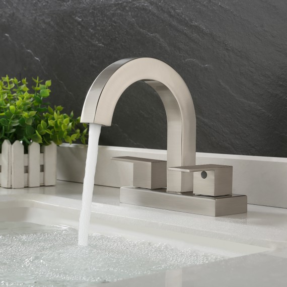 Bathroom Faucet Brushed Nickel Vessel Sink Faucet for Bathroom Sink 2 Handles 3 Holes Modern Centerset Vanity Faucet 4-Inches Brass Construction (Supply Hoses Included), L4118LF-BN