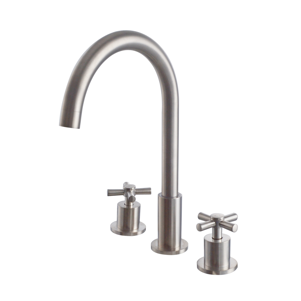 Kes bathroom vanity sink 3 hole two handle widespread for Chrome or brushed nickel kitchen faucet