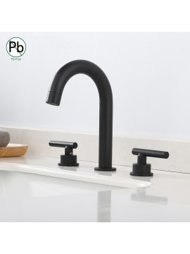 Bathroom 8 Inches Widespread Bathroom Sink Faucet with 3 Holes & 2 Handles & Supply Hoses, Black L4317ALF-BK