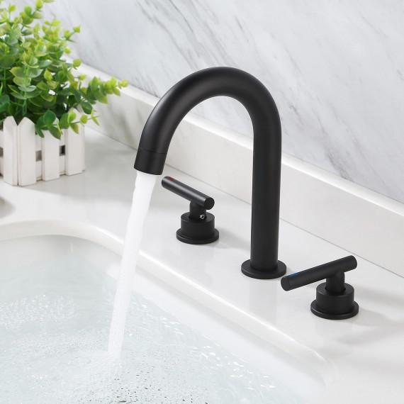 Bathroom 8 Inches Widespread Bathroom Sink Faucet with 3 Holes & 2 Handles & Supply Hoses, Black L4317ALF-BK