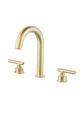Gold Bathroom Faucet 8 Inches Widespread Bathroom Faucet 3 Hole Bathroom Faucet 2 Handle Bathroom Sink Faucet Brass with Supply Hoses Brushed Brass, L4317ALF-BZ