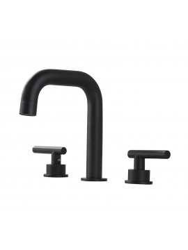 Matte Black 8-Inch Widespread Bathroom Faucet 3 Hole Modern Vanity Sink Faucet 2 Handle Brass with Supply Hoses, L4317LF-BK