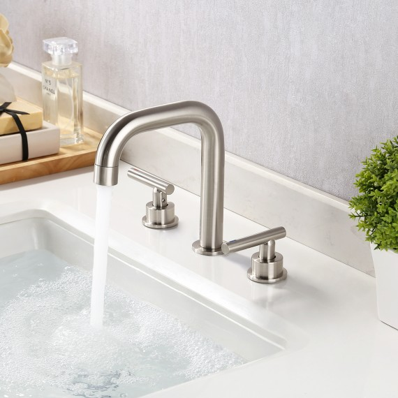 8-Inch Widespread Bathroom Faucet 3 Hole Modern Vanity Sink Faucet 2 Handle Brass with Supply Hoses Brushed Nickel, L4317LF-BN