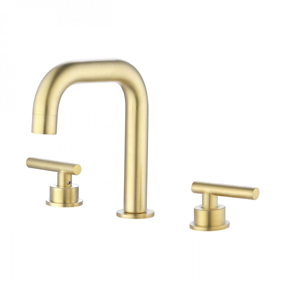 Widespread Bathroom Faucet 8 Inches Brushed Brass Bathroom Sink Faucet 3 Hole Cupc Certified Brass With