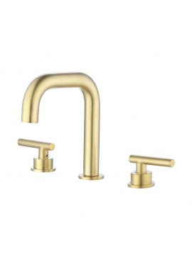 Widespread Bathroom Faucet 8 Inches Brushed Brass Bathroom Sink Faucet 3 Hole cUPC Certified Brass with Supply Hoses, L4317LF-BZ