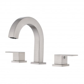 3 Hole Bathroom Faucet Brushed Nickel Widespread Bathroom Faucet 8 Inches cUPC Certified Brass Bathroom Sink Faucet with Supply Hoses, L4318LF-BN