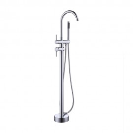 KES Brass Freestanding Tub Filler Faucet with SUS304 Stainless Steel Hand Shower Head Floor Mount Polished Chrome/Brushed Nickel, L5801/-2