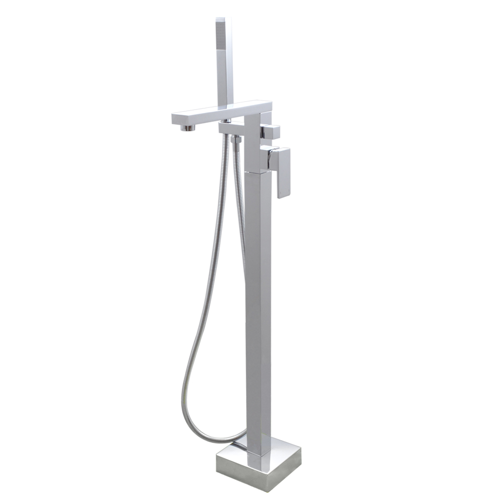 KES Brass Freestanding Tub Filler Faucet with Brass Hand Shower Head ...