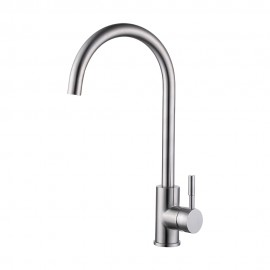 KES L6250A Single Lever Lead Free Kitchen Faucet with High Arc Swivel Spout, Brushed Stainless Steel