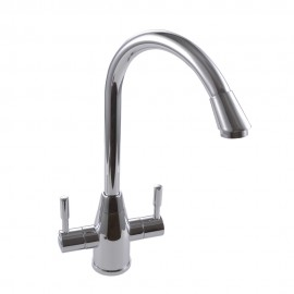 KES L627 Brass Double Lever Kitchen Sink Faucet with Swivel Spout, Polished Chrome