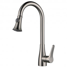 KES L6910-2 Solid Brass Singel Lever High Arc Pull Down Kitchen Faucet with Retractable Pull Out Wand, Swivel Spout, Brushed Nickel