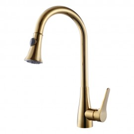 KES Brass Pull Down Kitchen Faucet Modern Single Large Tall Commercial Pullout Bar Sink Faucet with Swivel High Arc Gooseneck Pulldown Sprayer Head, Polished Chrome/Brushed Nickel/Titanium Gold/Oil Rubbed Bronze L6910LF/L6910LF-2/L6910LF-4/L6910LF-7
